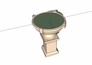 欧式圆形花钵素材设计SU(草图大师)模型