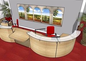 现代风格接待大厅室内设计SU(草图大师)模型