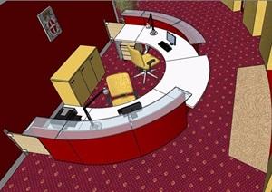 现代风格半圆形服务台大厅室内设计SU(草图大师)模型