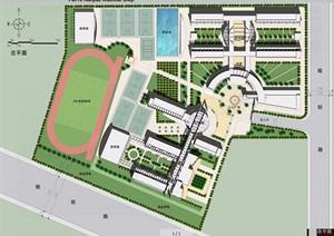 某学校整体校园规划设计平面图psd格式