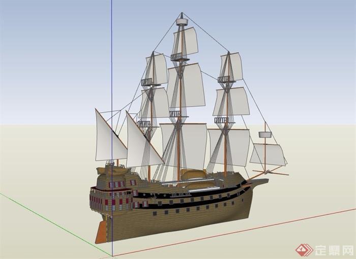 帆船海盗船设计su模型