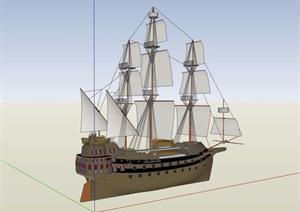 帆船海盗船设计SU(草图大师)模型