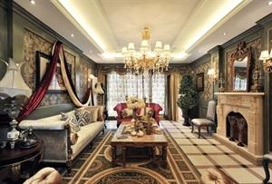 西安新房装修-曲江公馆和园200平米美式古典风格装修设计