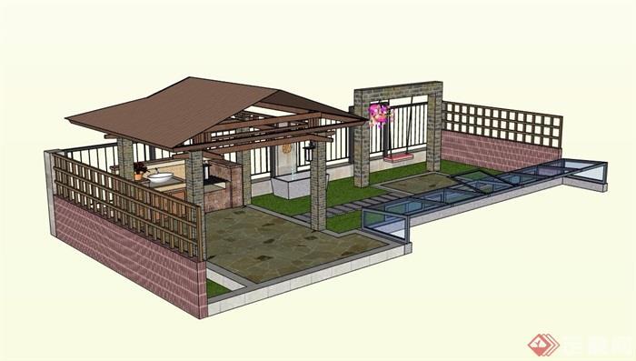 小庭院屋顶景观设计su模型