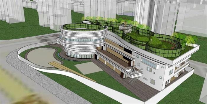 现代创意参数化造型屋顶活动平台幼儿园设计[原创]