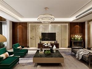 鲁班装饰-紫汀苑220平米港式风格装修设计,找寻不一样的现代家居