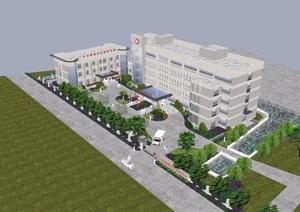 某现代风格医院详细五层建筑SU(草图大师)模型