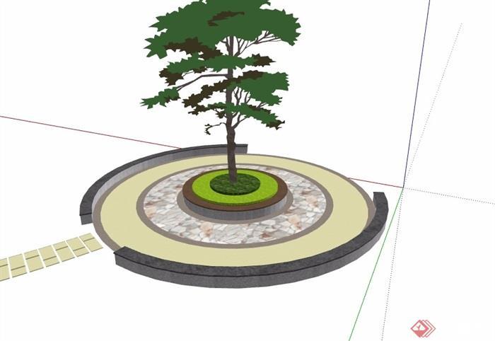 现代详细圆形树池设计su模型