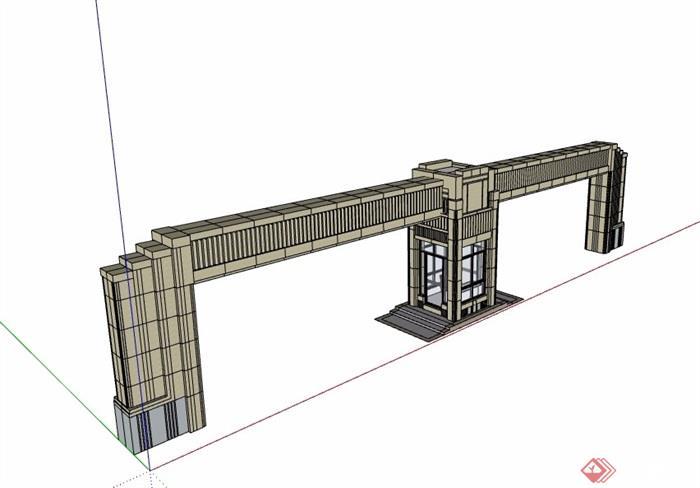 小区大门素材设计su模型