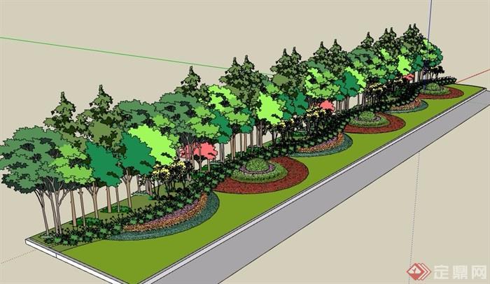 路边详细的灌木植物素材设计su模型