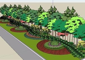路边详细的灌木植物素材设计SU(草图大师)模型
