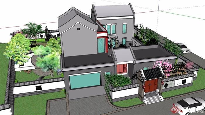 中式民居住宅建筑及庭院设计su模型
