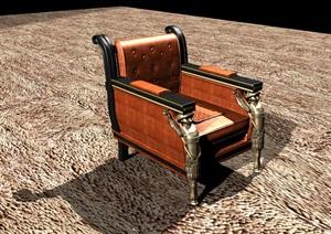 復古雕花中式牛皮座椅椅子