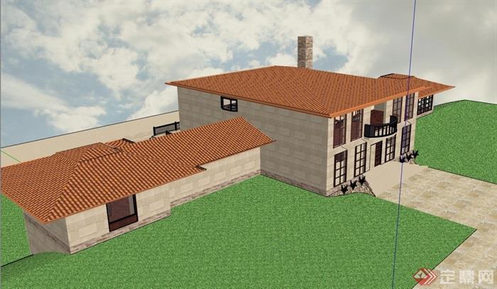 两层欧式风格详细的别墅设计su模型