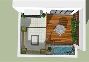 一个面积很小的屋顶花园功能区域设计