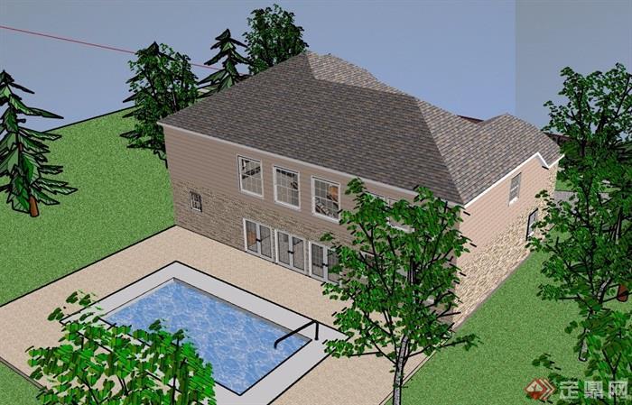 两层欧式完整详细的住宅别墅设计su模型
