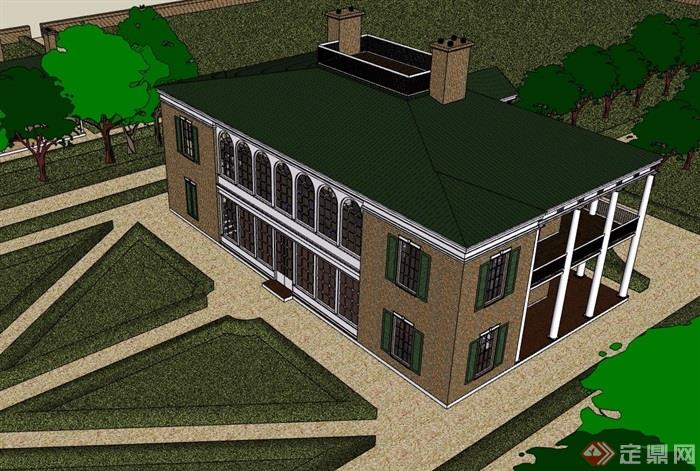 美式庄园两层别墅设计su模型