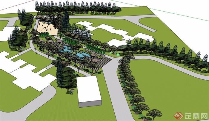 经典住宅小区中庭景观设计su模型