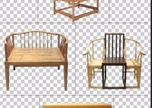 中式风格太师椅及边柜家具psd素材