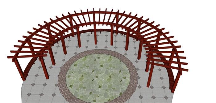 弧形圆形花架78木长廊廊架廊亭葡萄架su模型[草图大师