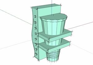 19种不同并的花钵设计SU(草图大师)模型