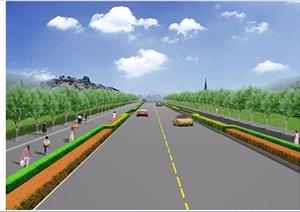 某道路绿化种植设计CAD+透视效果图
