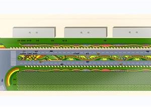 滨海公路景观设计CAD+2JPG效果图