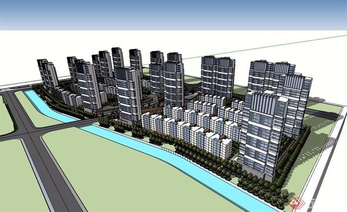 住宅小區多層及高層建筑樓設計su模型