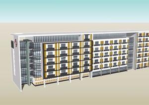 住院楼六层建筑设计SU(草图大师)模型