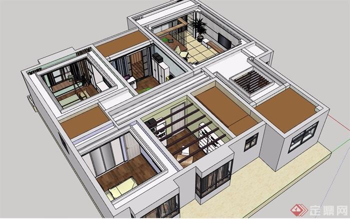 简约住宅室内设计su模型