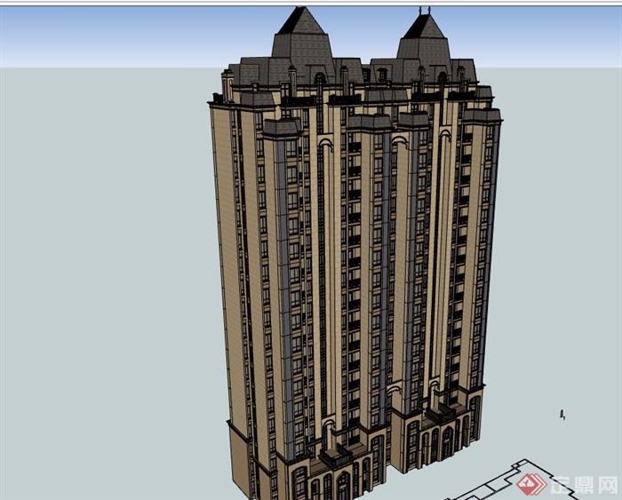 小高層拼接歐式住宅建筑樓設計su模型