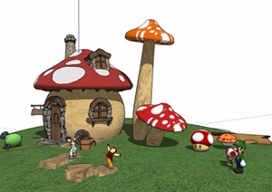 儿童乐园蘑菇小屋SU(草图大师)模型