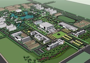 详细的校园环境设计SU(草图大师)模型含建筑