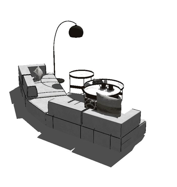 现代客厅软装详细su沙发设计(1)