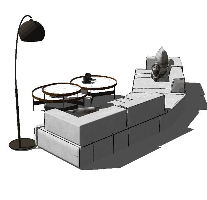 现代客厅软装详细su沙发设计(2)