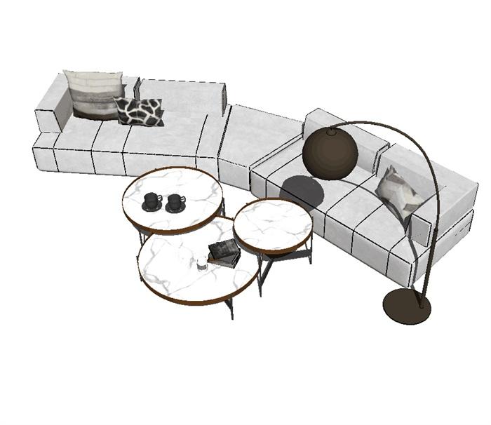 现代客厅软装详细su沙发设计(3)