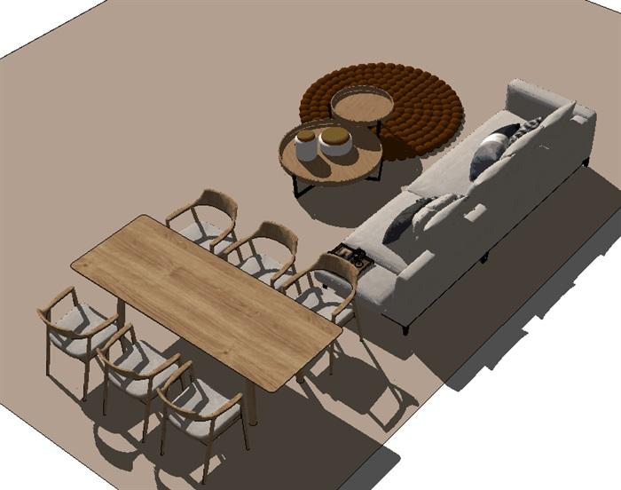 住宅客厅餐厅su模型设计(2)