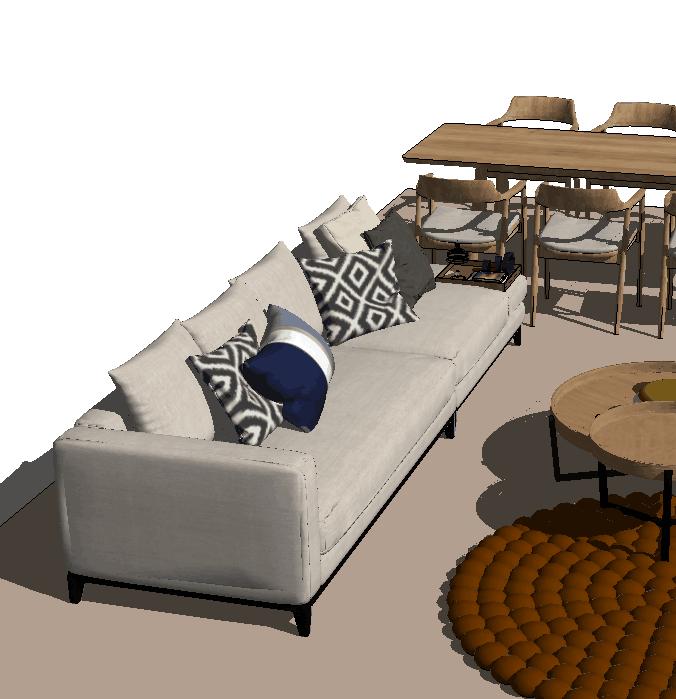住宅客厅餐厅su模型设计(1)