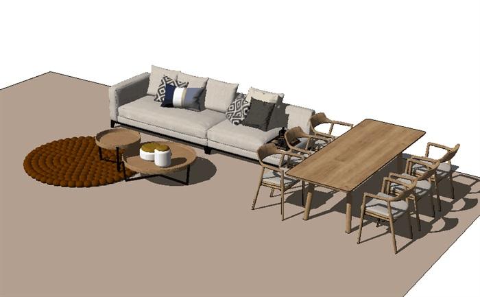 住宅客厅餐厅su模型设计(3)