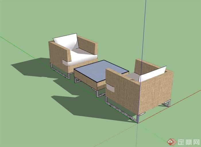详细完整的详细桌椅组合设计su模型