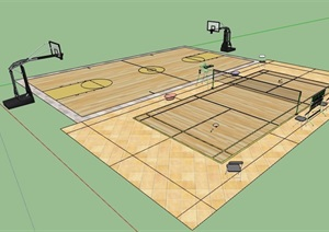 篮球场及排球场设计SU(草图大师)模型