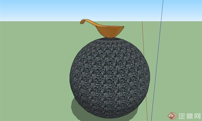 球体详细的雕塑小品素材设计su模型