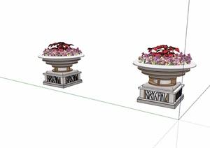 一对花钵素材设计SU(草图大师)模型