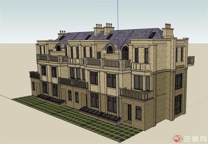 三层欧式详细完整的住宅建筑楼设计su模型