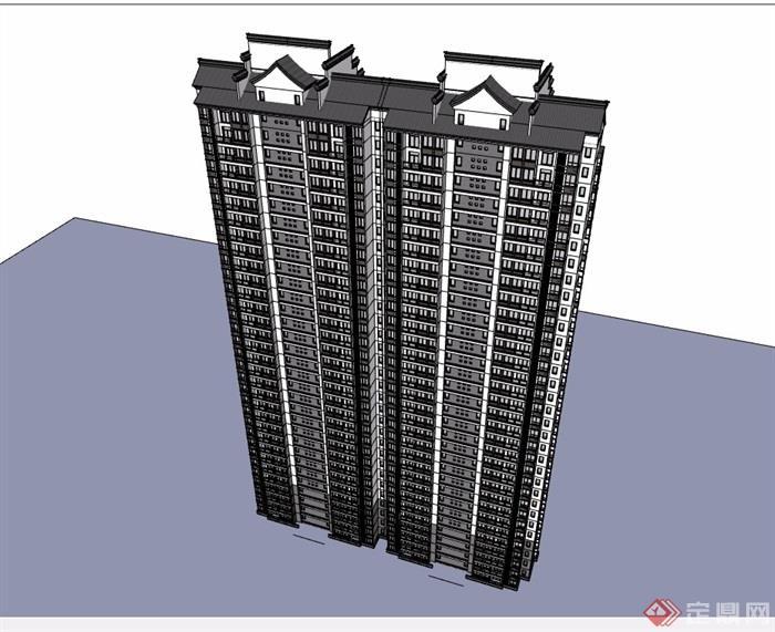 中式详细完整的高层居住建筑楼设计su模型