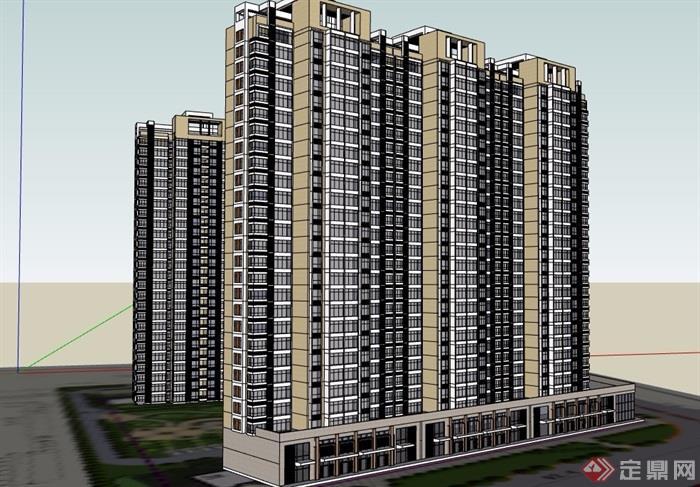 两栋详细的商业住宅小区建筑楼su模型