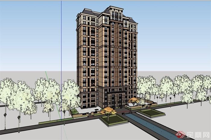 欧式详细的完整高层住宅楼su模型