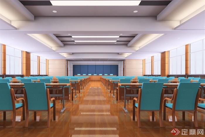 四张会议室室内装修设计效果图