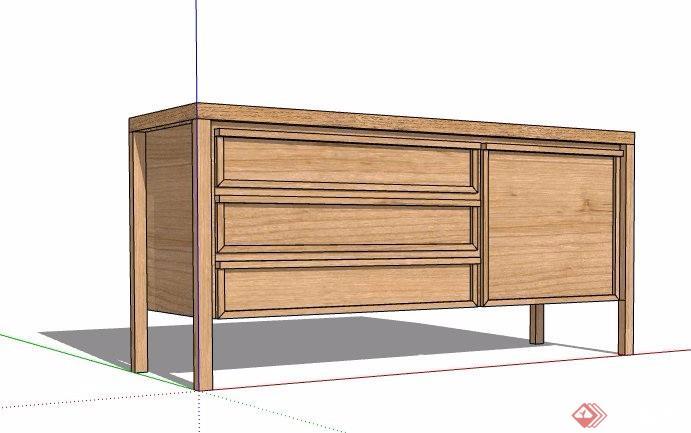 现代风格木制储物柜边柜素材su模型