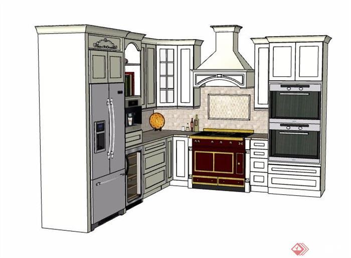 欧式风格厨房整体橱柜设计su模型